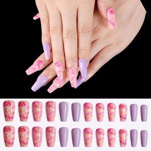 BNIB pink and purple nails